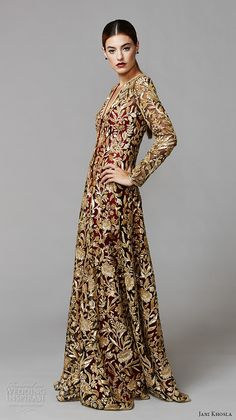 jani khosla 2015 bridal evening dress long sleeves v neck gold floral emrboidery on red sheath indian bridal gown lotus sequence
