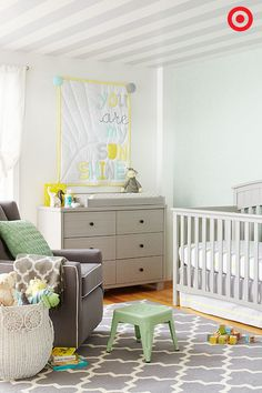 Boy? Girl? Either way, you'll be ready to welcome Baby home with this oh-so-sweet nursery. Filled with soft grays, greens and yellows, this nursery will definitely be perfect for your little sunshine! A 4-in-1 crib will grow with your little one from baby to teen, and the changing table/dresser combo and comfy glider will have you ready for anything.