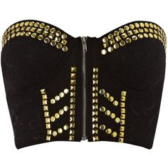 Ginger Fizz Studded bustier top and other apparel, accessories and trends. Browse and shop related looks. Crop Top Outfits, Crop Top And Shorts, Black Bustier Top, Ginger Fizz, Blusas Top, Music Festival Outfits, Bralette Crop Top, Black Short Sleeve Tops, My Style