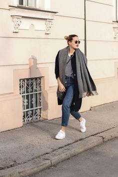 tifmys – Striped tee: Cos | Coat: Mango | Scarf: Acne Canada | Jeans: Closed Pedal Pusher | Sneakers: Adidas Superstars | Bag: Céline Trio | Necklace: Articus Happy Heart | Sunnies: Ray Ban Round Metal