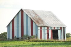 Red, white and blue shed in Ohio