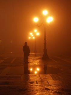 Foggy night in Venice, Italy