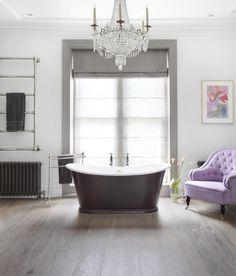 Ash Grey Oak engineered wood flooring makes the perfect backdrop for this elegant bathroom