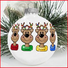 Reindeer ornament ~ names on collars