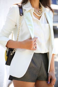 Putting together a white blazer and a white silk dress shirt is a fail-safe way to inject your closet with some glamour. White Silk Dress, Silk Shirt Dress, Dress Pants, Blouse, Blazer And Shorts, Blazer Outfits, Fasion, Fashion Outfits, Womens Fashion