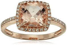 10k Rose Gold Morganite and Diamond Solitaire Cushion Ring (1/6cttw, H-I Color, I1-I2 Clarity), Size 7 Amazon Collection http://www.amazon.com/dp/B0132K1DW8/ref=cm_sw_r_pi_dp_dxXqwb0YV09YE