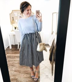 💛 I really love this blue linen sweater paired with this navy striped skirt! Everything in this outfit is linked here ➡️… Jw Fashion, Modest Fashion, Latest Fashion For Women, Fashion Outfits, Womens Fashion, Apostolic Fashion, Apostolic Style, Fashion Shirts, Fashion Black