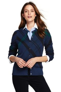 Women's+Supima+Cotton+Plaid+Cardigan+Sweater+from+Lands'+End