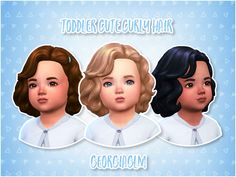 "georgiaglm: "" ⏩ Toddler Cute Curly Hair ⏪ ⏩ As soon as I saw this hair from the bowling night pack I knew it would be perfect for toddlers so I converted it and made it base game compatible! ⏩ There..."