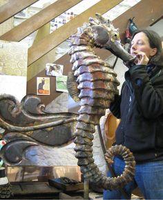 brazing large seahorse     Karen Meleney Green, English weathervane sculptress