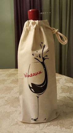 Wine Tote Bag, Wine Gift Bag, Personalized Wine Bag, Christmas, Holiday, Housewarming Gifts, Cotton Canvas, Wedding Gifts, Hostess Gifts, by ShoeBoxSnapShots on Etsy