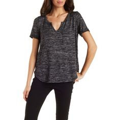 Charlotte Russe Charcoal Boyfriend Pocket Tee by Charlotte Russe at... ($15) ❤ liked on Polyvore featuring tops, t-shirts, charcoal, pocket tee, short sleeve tee, black pocket tee, short sleeve pocket t shirts and boyfriend tee