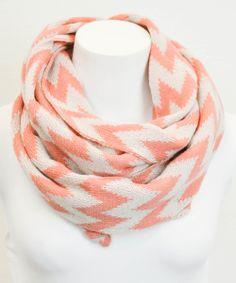 Peach & White Zigzag Infinity Scarf
