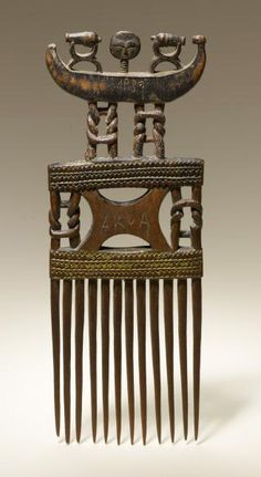 "Africa | Comb from the Asante people of Ghana | Wood | A comb was a popular gift for an engagement.This comb is inscribed ""Akua"" and ""Ahima"" along with the date ""1932"""
