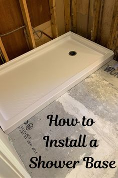 Learn how to install a shower base and update your shower. Let us help you DIY remodel or update your bathroom. Diy Bathroom Remodel, Shower Remodel, Bathroom Renovations, Bathroom Ideas, Budget Bathroom, Bathroom Interior, Bathroom Plumbing, Bathroom Flooring, Plumbing Drains