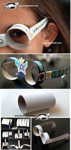 Faire des lunettes rigolotes avec des rouleaux de papier toilettes vides !