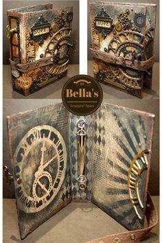 Good use of mom's canvas. Bella's Scrappin' Space: Lots of Tim Holtz products and techniques used to create this Steampunk worn cover with Sizzix dies, idea-ology and layering stencils with distress paint. Altered Books, Steampunk Accessoires, Steampunk Crafts, Style Steampunk, Steampunk Theme, Images Vintage, Distressed Painting, Handmade Books, Book Covers