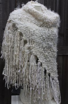 Snow Princess Handwoven Shawl Made with Hand Spun by reneeknits, $289.00
