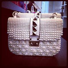 .@miraduma (Miroslava Duma) 's Instagram photos   Love the Valentino pearl rockstud shoulder bag