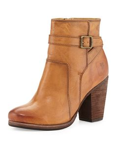 Frye Patty Leather Ankle Bootie, Camel