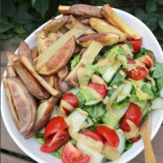 Salad with baked potato fries