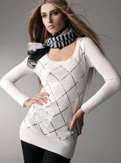 Argyle Sequined Long Sweater <<love