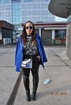 Zerouv Sunglasses, Mango Sweaters and Primark Bags Leather Vest, My Outfit, Personal Style, That Look, Bomber Jacket, Black And White, Sunglasses, Sweaters, Blanco Y Negro