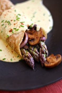 Savory Asparagus Crepes with Easy Vegan Hollandaise Sauce