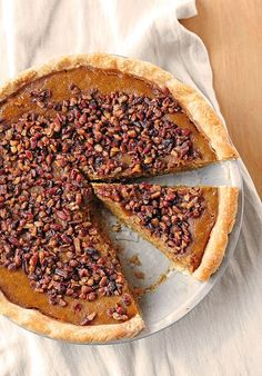 Pumpkin Pie with Toasted Pecan Praline Topping — Pumpkin Pie dressed up a bit for your holiday Thanksgiving or Christmas table!
