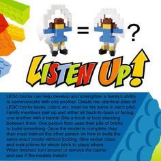 """""""Listen Up"""" - lego game, good practice listening and following directions"""