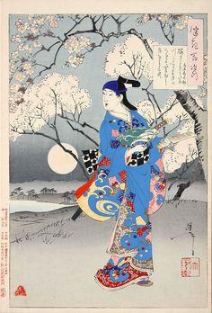 桜さくすみたの川にこくふねもくれて関屋に月をこそ見れ 水木辰の助(『月百姿』シリーズ/画・月岡芳年)の拡大画像