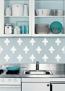 french kitchen cafe wallpaper border | Wall Decal French Fleur de Lis Backsplash Wallpaper Border Kitchen ...