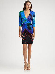 Roberto Cavalli Jersey Turchese Print Dress