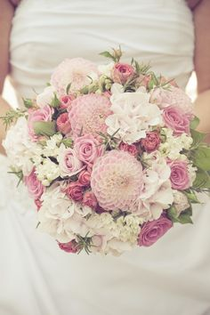 Another sweet round bouquet of pink hydranges, pink spray roses, white bouvardia. - Another sweet round bouquet of pink hydranges, pink spray roses, white bouvardias and pink dahlias. Bouquet Bride, Pink Bouquet, Flower Bouquet Wedding, Floral Wedding, Bouquet Flowers, Wedding Dress, Floral Bouquets, Trendy Wedding, Wedding Ideias