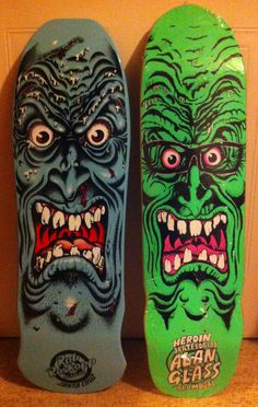 A Santa Cruz Rob Roskopp 2003 issue and a Heroin skateboards 2005 tribute to Alan Glass and the classic Jim Phillips design. Only 100 of the Heroin Decks were made due to strict licensing by Santa Cruz.