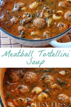 Meatball Tortellini Soup {slow cooker or stove top} - Busy Bliss : A meatball tortellini soup recipe that can easily be made in the slow cooker or stove top. The perfect weeknight recipe for busy families. Slow Cooker Tortellini Soup, Crock Pot Soup, Slow Cooker Soup, Slow Cooker Recipes, Crockpot Recipes, Soup Recipes, Cooking Recipes, Dinner Crockpot, Family Recipes