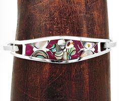 Inlaid Purple PhosphosideriteNatural Abalone Shell Flower Bracelet Taxco Mexico #Handmade #Floral