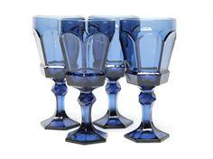 4 Fostoria Virginia wine water goblets dusky blue by daisydivine