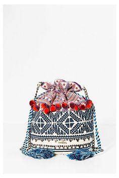 Sack-shaped shoulder bag with embroidery - Vigo Gala | Desigual.com B