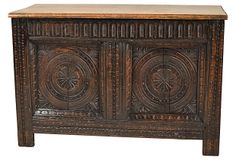 19th-C.  English Carved Blanket Chest