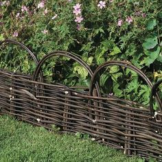 Decorative Willow Hurdle Garden Edging (W:120 x H:30cm) for a rustic low border fence or vegetable bed definition.