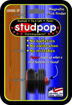 Studpop® NEW for 2014. Invented by a contractor. Guaranteed to work every time on sheetrock, plaster, lath, tile. No batteries. Makes stud f...