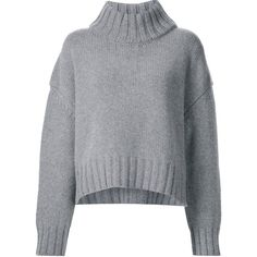 Sally Lapointe thick ribbed collar pullover ($1,260) ❤ liked on Polyvore featuring tops, sweaters, grey, thick sweaters, pullover tops, gray pullover sweater, sweater pullover and cashmere sweater