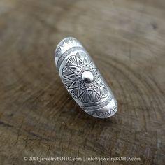 New to jewelryboho4u on Etsy: BOHO 925 Silver Ring-Gypsy Hippie RingBohemian styleStatement Ring R114 JewelryBOHOHandmade sterling silver BOHO Tribal printed ring (35.75 USD)