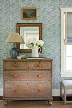 Southern Living - girl's rooms - bedroom wallpaper, white and blue wallpaper, blue wallpaper, blue patterned wallpaper, mirror, greek key ch... I saw this in Nashville & loved!!
