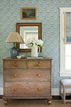 Southern Living - girl's rooms - bedroom wallpaper, white and blue wallpaper, blue wallpaper, blue patterned wallpaper, mirror, greek key ch...