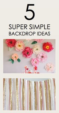 Looking for a few ideas that will take your party from drab to fab? Whether you're looking to make a statement on a wall or spruce up a dessert table, paper flowers are a fun and festive look that make a big difference. Not a flower lover? Try pinwheels to create a lovely backdrop in any color imaginable. You can even make an elegant and unique backdrop by arranging different sized and shaped mirrors!