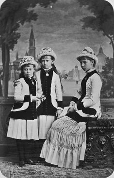 The Princesses Victoria, Sophie, and Margaret of Prussia, 1879 [in Portraits of Royal Children Vol.25 1879-80] | Royal Collection Trust