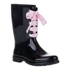 SALE - Valentino Rain Boots Womens Black Rubber - Was $195.00 - SAVE $39.00. BUY Now - ONLY $156.00