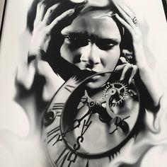 To the Wishlist. inbox for a good price. #tattooart #blackandgrey #drawings #clocktattoo #inked #tattoos #realism #tattooflash #BulletBG
